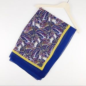 Lands' End paisley blue and gold scarf